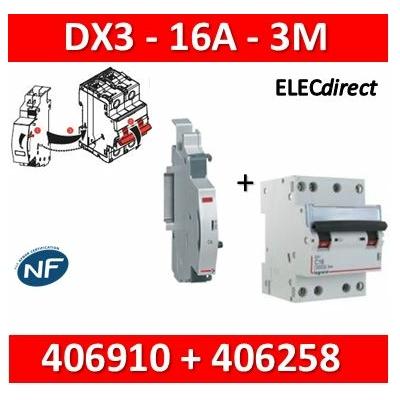 Legrand - Disjoncteur 4P DX3 - 16A + contact auxiliaire inverseur (CA) - 406910+406258