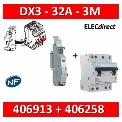 Legrand - Disjoncteur 4P DX3 - 32A + contact auxiliaire inverseur (CA) - 406913+406258