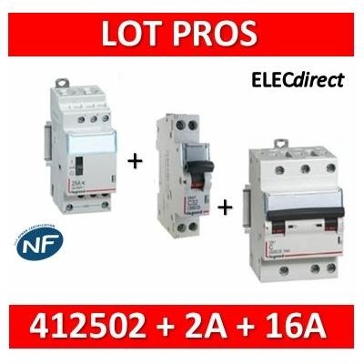 Legrand - LOT PROS - Contacteur CX3 J/N heures creuses + dpn 2A DNX3 + 3P+N 16A DNX3 - 412502+406771+407829
