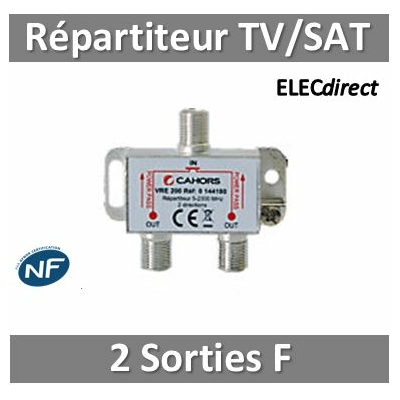 "CAE - Répartiteur TV/Satellite - 2 sorties ""F"""