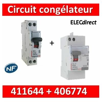 LEGRAND - Interrupteur Différentiel 2P - 40A - 30ma - VIS/AUTO + DPN 16A - 411644+406774