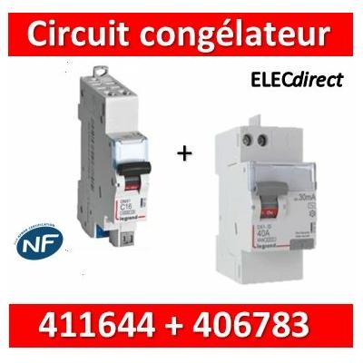 LEGRAND - Interrupteur Différentiel 2P - 40A - 30ma - VIS/AUTO + DPN 16A AUTO - 411644+406783