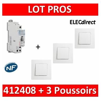 Legrand - Télérupteur CX3 - Unipolaire 16A - 230V + 3 Poussoirs Niloé - 412408+664705x3+665001x3