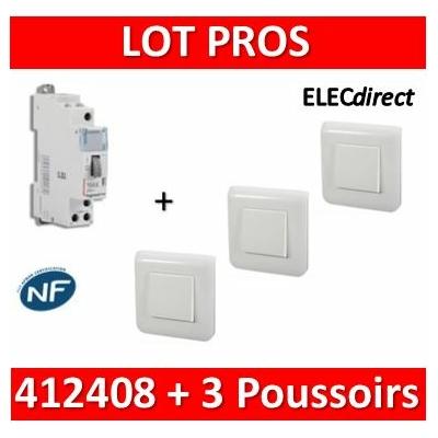 Legrand - Télérupteur CX3 - Unipolaire 16A + 3 Poussoirs Mosaic - 412408+077040x3+078802x3-080251x3