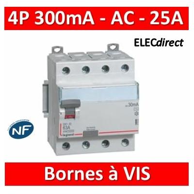 Legrand - Inter diff DX³-ID - vis/vis - 4P- 400V~- 25A - type AC - 300mA - départ bas - 4M - 411664