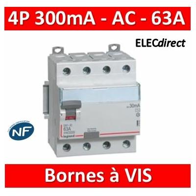 Legrand - Inter diff DX³-ID - vis/vis - 4P- 400V~- 63A - type AC - 300mA - départ bas - 4M - 411666