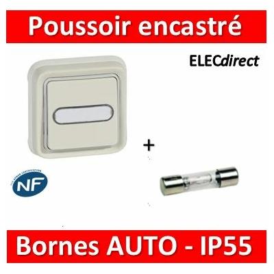 Legrand - Poussoir NO + NF lumineux Prog Plexo complet encastré blanc - 10 A - 069864