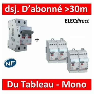 Legrand - Lot pour Disj. d'abonné >30m du tableau électrique - 63A - 406441+411611x3+411617