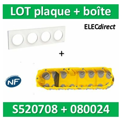 Schneider Odace - Plaque 4 postes + Boîte batibox BBC Legrand 4 postes - Hor/vert - s520708+080024