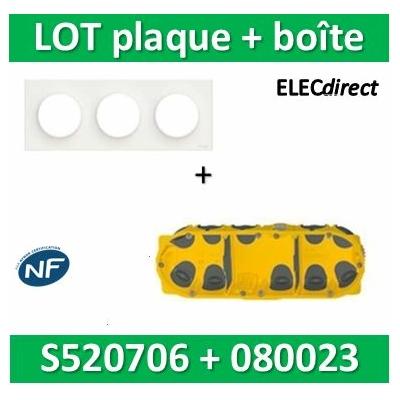 Schneider Odace - Plaque 3 postes + Boîte Batibox BBC Legrand 3 postes - Hor/vert - s520706+080023