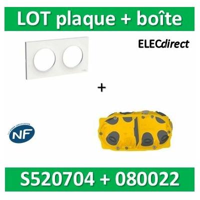 Schneider Odace - Plaque 2 postes + Boîte Batibox BBC Legrand 2 postes - Hor/vert - s520704+080022