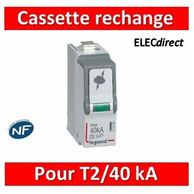 Legrand - Cassette de remplacement pour parafoudres T2/40 kA - 412299