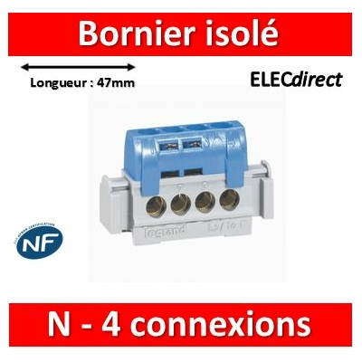 Legrand - Bornier de répartition IP 2X - neutre - 4 connexions 1,5 à 16 mm²- bleu- L 47 mm - 004840