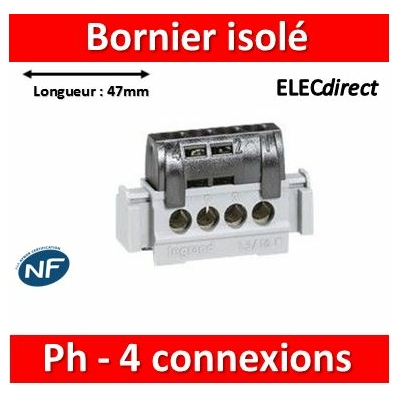 Legrand - Bornier de répartition IP 2X - phase - 4 connexions 1,5 à 16 mm²- noir - L 47 mm - 004850