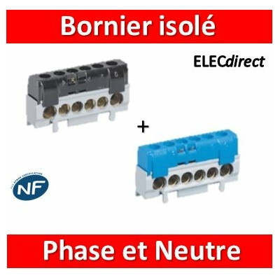 Legrand - Bornier isolé Phase + Neutre -  004816+004815