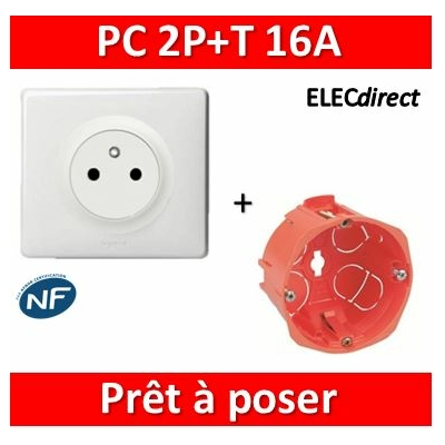 Legrand Céliane - Prêt à poser - Prise 2P+T complet + boîte SIB 1 poste