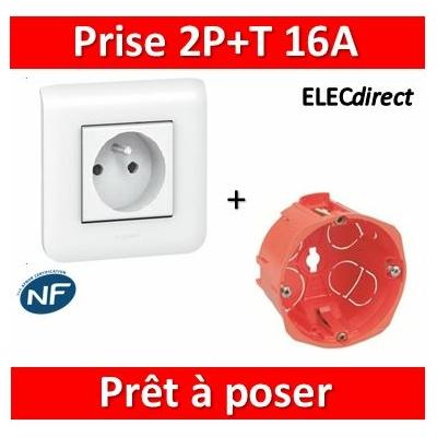 Legrand Mosaic - Prêt à poser - Prise 2P+T 16A complet + boîte SIB 1 poste