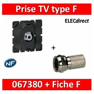 Legrand - Prise TV Céliane - simple - type ''F'' 0-2 400 MHz - à visser - 067380+fiche F