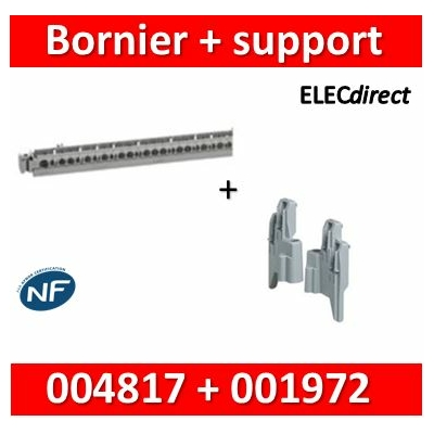 Legrand - Support de borniers - vide - 35 trous + Support - L. 276 mm - 004817+001972