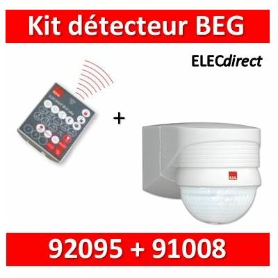 B.E.G - Détecteur + télécommande contrôle à distance - 280° - 360° - Mural - Blanc - 91008+92095