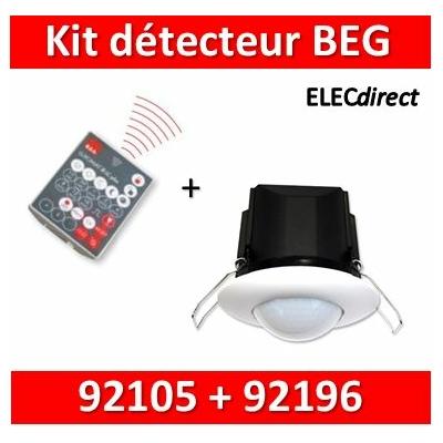 B.E.G - Détecteur + télécommande - détection circulaire - Plafond - Blanc - encastré - 92196+92105