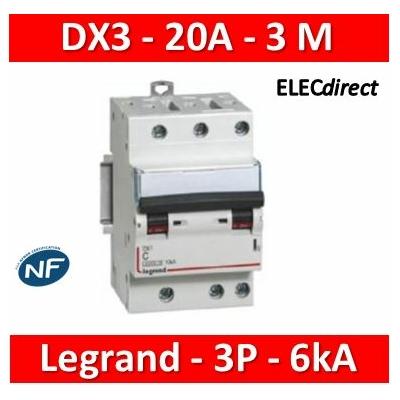 Legrand - Disjoncteur DX³ 4500 - vis/vis - 3P - 400 V~ - 20A - 6kA - courbe C - 406893