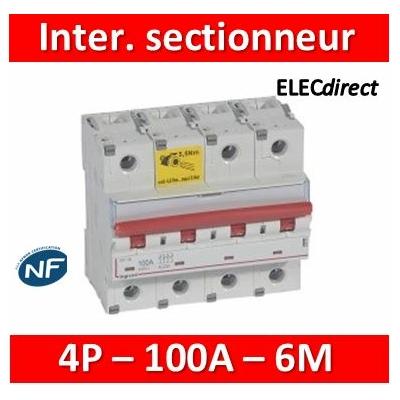 Legrand - Inter-sectionneur de tête DX³-IS -vis/vis- à déclenchement- 4P -400 V~- 100A -6M - 406546