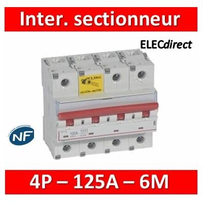 Legrand - Inter-sectionneur de tête DX³-IS -vis/vis- à déclenchement- 4P -400 V~- 125A -6M - 406547
