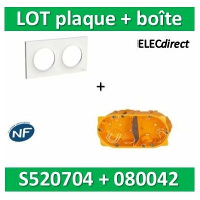 Schneider Odace - Plaque 2 postes + Boîte Batibox Legrand 2 postes - Hor/vert - s520704+080042