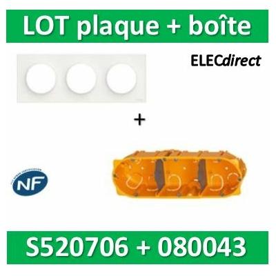Schneider Odace - Plaque 3 postes + Boîte Batibox Legrand 3 postes - Hor/vert - s520706+080043