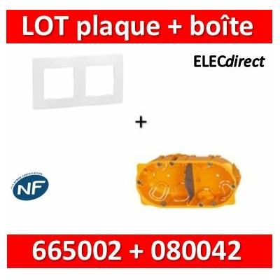 Legrand Niloé - Plaque 2 postes + Boîte Batibox Legrand 2 postes - Hor/vert - 665002+080042