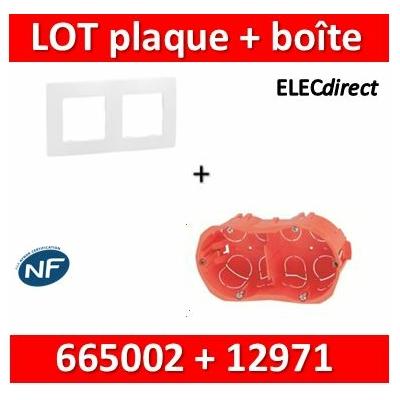 Legrand Niloé - Plaque 2 postes + Boîte SIB 2 postes - Hor/vert - 665002+12971