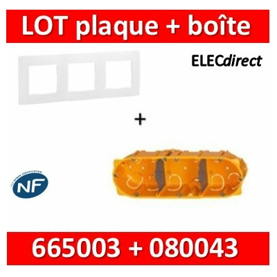 Legrand Niloé - Plaque 3 postes + Boîte Batibox Legrand 3 postes - Hor/vert - 665003+080043
