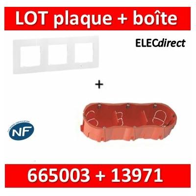 Legrand Niloé - Plaque 3 postes + Boîte SIB 3 postes - Hor/vert - 665003+13971