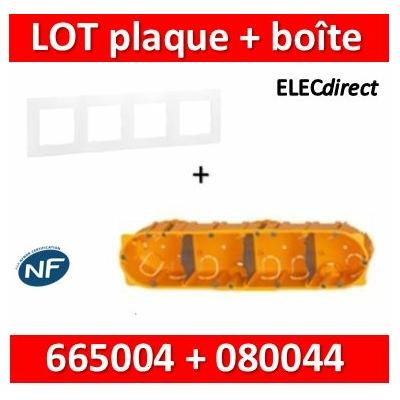 Legrand Niloé - Plaque 4 postes + Boîte Batibox Legrand 4 postes - Hor/vert - 665004+080044