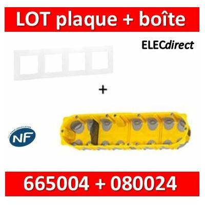 Legrand Niloé - Plaque 4 postes + Boîte Batibox BBC Legrand 4 postes - Hor/vert - 665004+080024