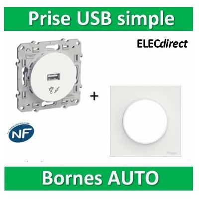 Schneider Odace - Prise USB 5V + plaque complet - s520408+s520702