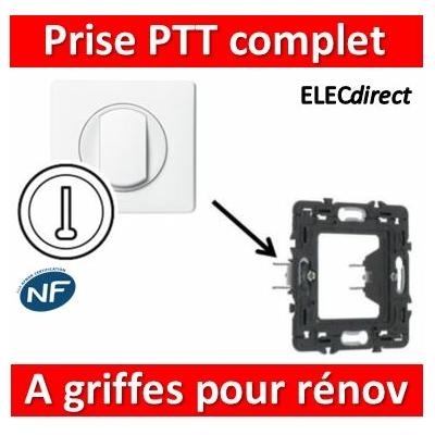 Legrand Céliane - Prise téléphone PTT complet blanc 1 poste à griffes pour rénovation