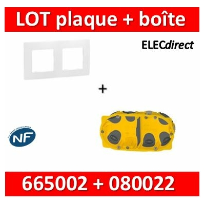 Legrand Niloé - Plaque 2 postes + Boîte Batibox BBC Legrand 2 postes - Hor/vert - 665002+080022