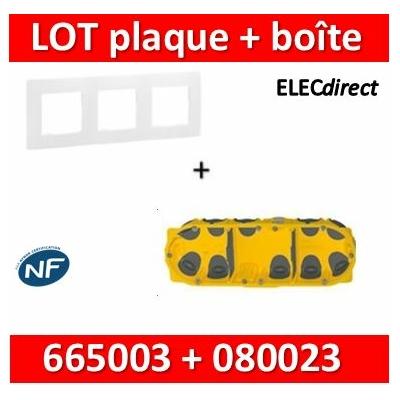 Legrand Niloé - Plaque 3 postes + Boîte Batibox BBC Legrand 3 postes - Hor/vert - 665003+080023