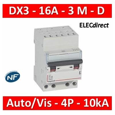 Legrand - Auto/vis-4P-400V 16A-10kA - courbe D - peigne HX³ opti 4P - 3M - 408133