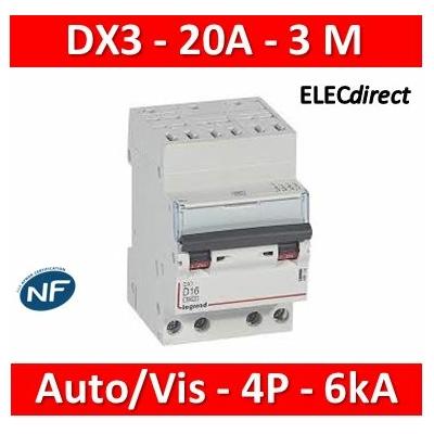 Legrand - Disjoncteur DX3 - auto/vis - 4P - 400 V - 20A - 6kA - courbe C - 3M - 406920