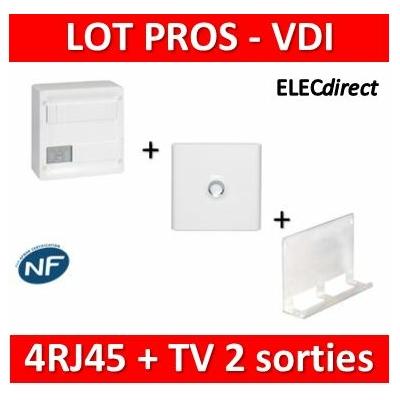Legrand - Coffret VDI GRADE 1 et 2 - 4 RJ45 + Porte + Support Box Tonna - 413218+401331+828080