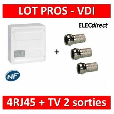 Legrand - Coffret VDI GRADE 1 et 2 - 4 RJ45 13M - 413218+3 Fiches F