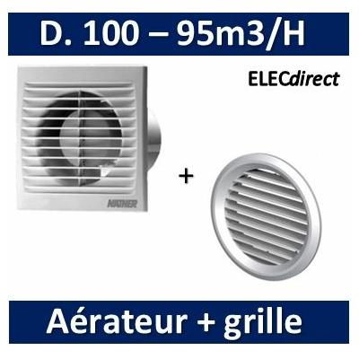 Nather - Aérateur Standard D. 100 mm + Grille de façade - 549009+549085