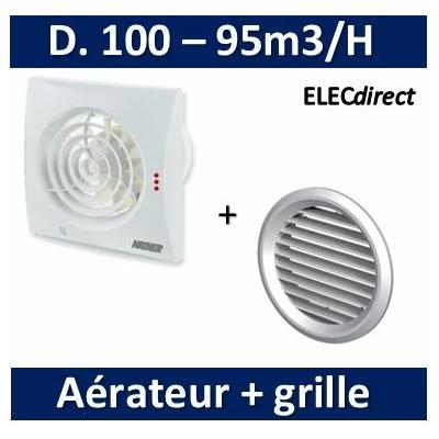 Nather - Aérateur + détection de présence + minuterie D. 100 mm + Grille de façade - 12109+549085
