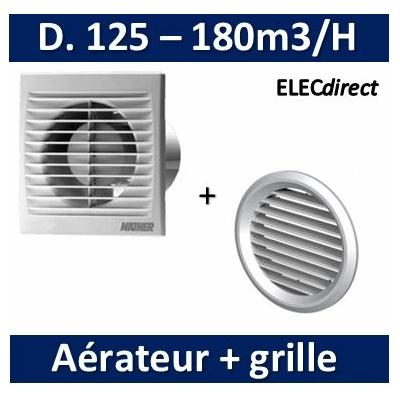 Nather - Aérateur standard D. 125 mm + grille de façade - 549012+549086