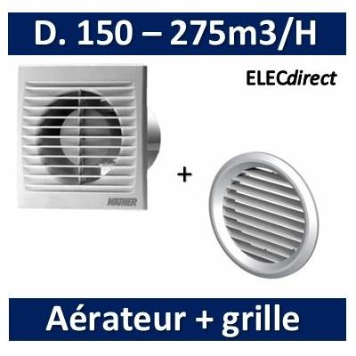 Nather - Aérateur standard D. 150 mm + grille de façade - 500007+549087