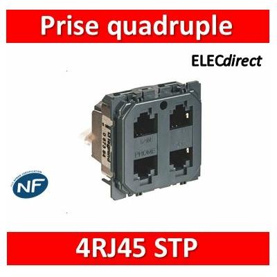 Legrand - Prise quadruple RJ 45 STP multimédia Céliane - réseau Optimum auto - 067394