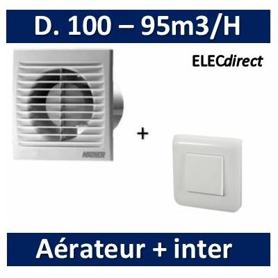 Nather - Aérateur Standard D. 100mm + Interrupteur Mosaic - 549009+077011+078802+080251
